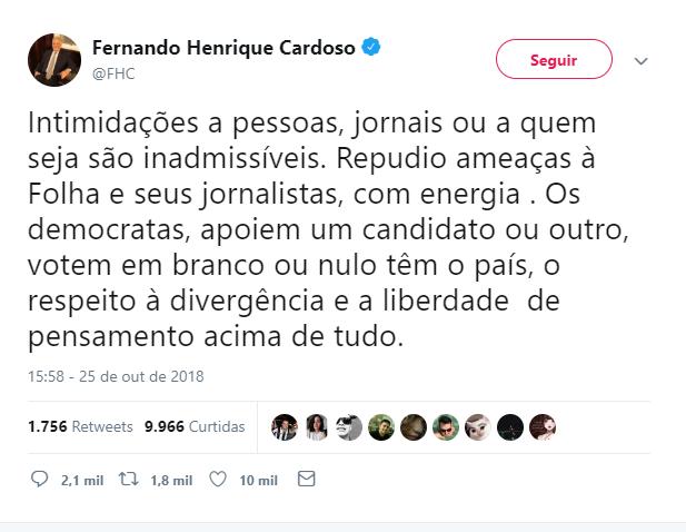 Tucanos arrependidos!? FHC e Alckmin confrontam Bolsonaro pelos ataques à Folha de São Paulo
