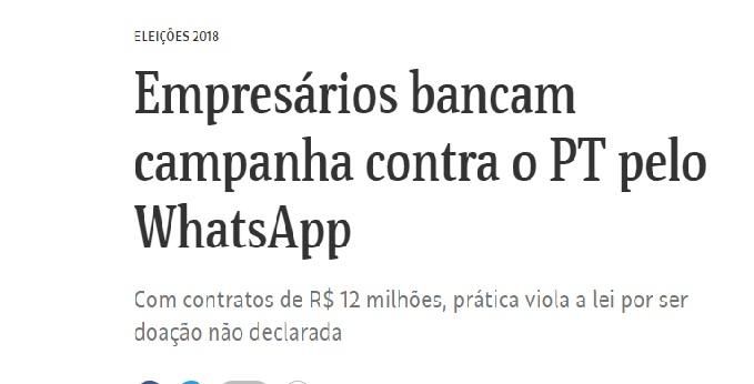 Repórter da Folha sofre assédio e ameaças após a reportagem que denuncia campanha contra o PT pelo WhatsApp