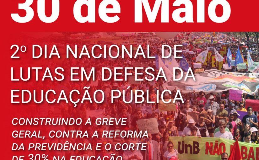 Novas manifestações em defesa da Educação acontecem dia 30 de maio em todo o país