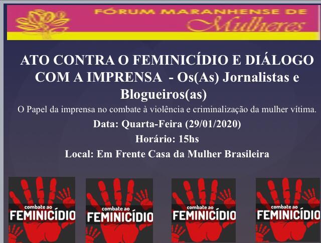 Fórum de Mulheres convoca ato contra o feminicídio e propõe diálogo com a imprensa
