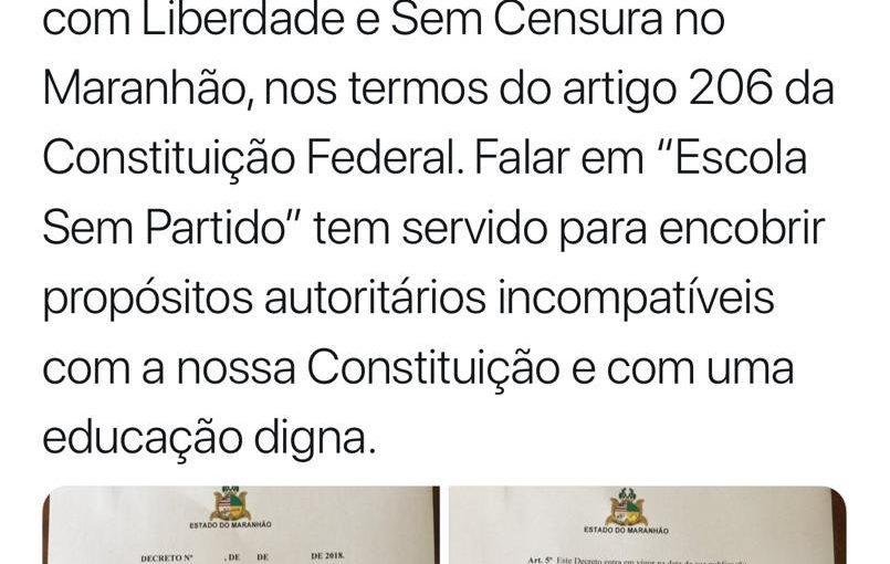 No Maranhão, decreto garante escola livre e sem censura
