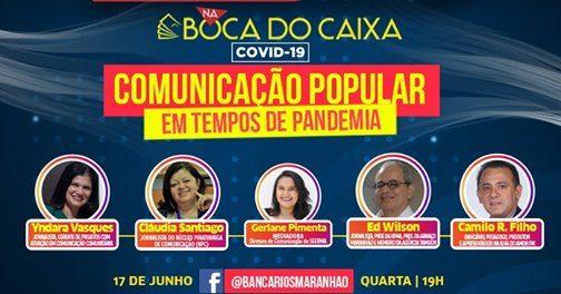 """Hoje, 19h, tem live """"comunicação popular em tempos de pandemia"""""""
