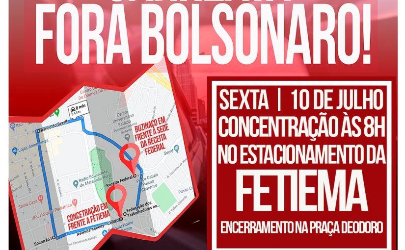 """Carreata """"Fora Bolsonaro"""" será realizada em São Luís no Dia Nacional de Lutas"""