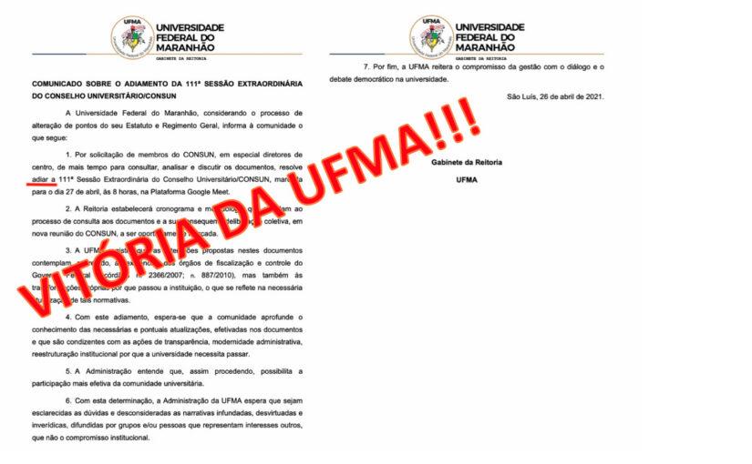 UFMA: mobilização da comunidade universitária adia a reunião do Consun